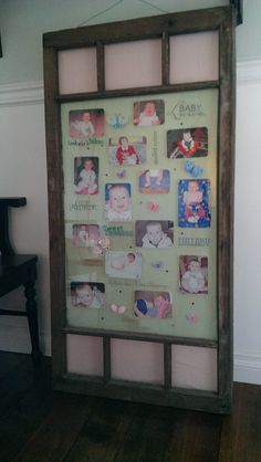 Old farm house windows with a fabric background makes a wonderful and unique photo frame
