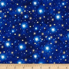 Rejoice Metallic North Star Blender Blue from @fabricdotcom  Designed by Liz Goodrick-Dillon for Quilting Treasures, this cotton print fabric is perfect for quilting, apparel and home decor accents. Colors include black, grey, white, and shades of blue with metallic gold accents.