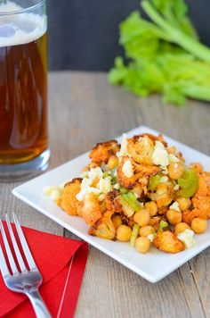 Vegetarian Buffalo salad with Cauliflower and chick peas!