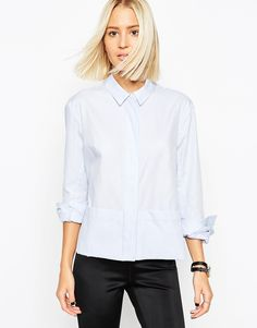 Shirt by ASOS WHITE Breathable cotton Striped design Concealed button placket Point collar Relaxed fit Machine wash 100% Cotton Our model wears a UK 8/EU 36/US 4