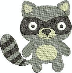 Digital Embroidery Design  Cute Raccoon by EmbroideryDesignsBRN
