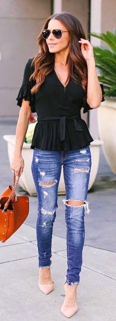 black v-neck top. #SpringOutfits #SpringDress #outfit2018 #Spring #Outfit #women