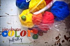 Using playdough to teach color mixing and primary/secondary colors.
