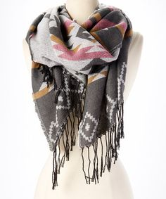 Another great find on #zulily! Gray Geometric Fringe Blanket Scarf #zulilyfinds