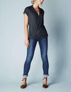 Drapey top with v-neck and a longer line--perfect for my shape. This kind of cut is very flattering on me.