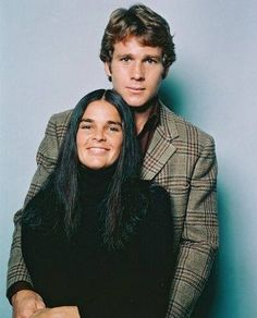 A vintage color press shot of cult stars' Ryan O'Neal and Ali McGraw for the classic 1970 tearjerker, LOVE STORY!