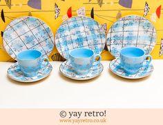 Blue & Gold 50s Trios x 3 - Retro, Vintage China, Glassware, Kitchenalia, fabrics and books - yay retro!