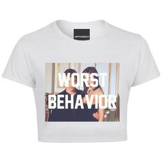 Worst Behaviour Crop Tshirt ($38) ❤ liked on Polyvore featuring tops, t-shirts, white t shirts, white crop tee, white crew neck tee, crew neck tee and crewneck tee