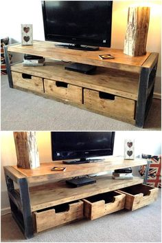 Tv stand is an important need of the home because it is needed to place the TV on it, so here we have another idea with the drawers without the handles. The hollow space is created for taking the drawers out when it is required to place something in them.