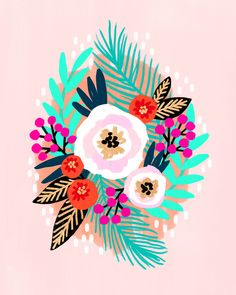 After designer gift products, American visual artist Jessica Phoenix decided to explore what drives most: infi Nature Illustration, Floral Illustrations, Art Floral, Floral Motif, Phoenix Artwork, Guache, Cute Patterns Wallpaper, Posca, Art Design