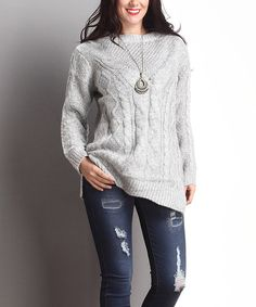 Grey Cable-Knit Sweater