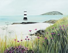 Penmon open edition print by Janet Bell. Available from Janet Bell Gallery, Beaumaris, Isle of Anglesey