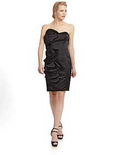ABS Strapless Satin Ruffle Dress -...