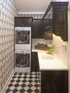 Layout- Stackable washer/dryer at end of hallway. Narrow counter for folding. 50 Awesome Laundry Room Design Ideas @styleestate