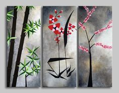 Original acrylic on canvas asian 3 pieces home or office décor. Ready to hang wall artwork. Size: 60x50 (2*20x50) cm. #art #paintings #abstract #acrylic #modern #original #wall #decor #gift #homedecor #home #flowers #asia #asian flowers