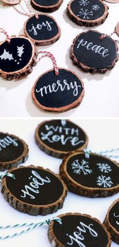 Christmas DIY: Rustic Tree Slice Or Rustic Tree Slice Ornaments. These rustic tree slice ornaments are a great addition to your Christmas ornament collection. Rustic Christmas Ornaments, Noel Christmas, Winter Christmas, Ornaments Ideas, Diy Christmas Tree Decorations, Outdoor Christmas, Christmas Tree Ideas, Wood Ornaments, Homemade Ornaments