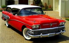 The 1958 Buick Caballero is one of the rarest, and one of the most legit wagons ever produced. It was only made for one year and was d. Old American Cars, American Classic Cars, Classic Trucks, American Pride, Austin Martin, Vintage Cars, Antique Cars, Vintage Auto, Jaguar