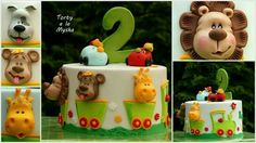 Animal train cake