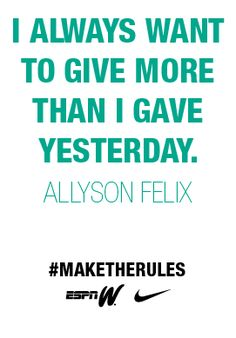 Allyson Felix; Track and field Inspiration. If I make it to Rio 2016, I want to meet her. :) #goalss