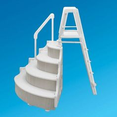 ocean blue grand entrance step with outside ladder for above ground pools free shipping - Above Ground Pool Outside Steps