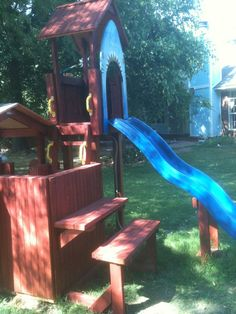 05.19.12.Latest additions to Ran's custom playset: added roof over shark slide tower and built side table/bench.