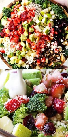 This Broccoli Salad will be one of the best salads you ever make! The perfect easy potluck or side dish packed with fresh strawberries, creamy avocados, crunchy pears, crisp apples, salty sunflower seeds, sweet dried cranberries,  and tangy feta! The textures and flavors are out of this world! #salad #broccolisalad #saladrecipe #broccolirecipes #avocadoes #strawberries #strawberryrecipes #easyrecipe #recipes #recipeoftheday #recipeideas #recipeseasy #recipe #potluck #potlucksalad… Chicken Salad Recipes, Beef Recipes, Vegetarian Recipes, Healthy Recipes, Broccoli Recipes, Quiche Recipes, Vegetarian Broccoli Salad, Best Broccoli Salad Recipe, Healthy Broccoli Salad