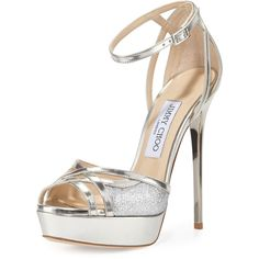 Jimmy Choo Laurita Metallic Glitter 135mm Sandal (33,140 THB) ❤ liked on Polyvore featuring shoes, sandals, heels, silver, silver heel sandals, high heel shoes, platform heel sandals, heeled sandals and metallic platform sandals