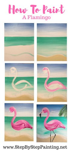 Learn how to paint your own flamingo painting step by step with this acrylic painting tutorial. Canvas Painting Tutorials, Acrylic Painting For Beginners, Step By Step Painting, Beginner Painting, Painting Tips, Types Of Painting, Simple Canvas Paintings, Easy Canvas Painting, Painting For Kids