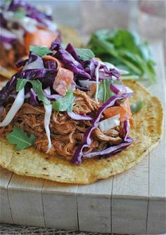Slow Cooker Barbecue Chicken Tostadas with Cole Slaw from Bev Cooks; this sounds great for a Slow Cooker Summer Dinner!  [via Slow Cooker from Scratch] #SlowCooker #CrockPot #SlowCookerSummerDinner