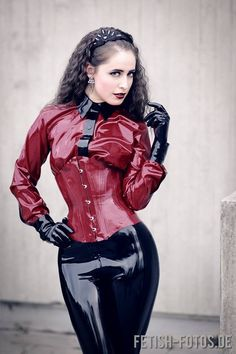 Casual latex outfit in public