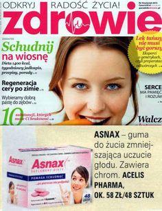 """Zdrowie, Kwiecień 2013  Miesięcznik """"Zdrowie"""", który zachęca do dbania o kondycję, urodę i samopoczucie, poleca Asnax™, jako suplement pozwalający zmniejszyć uczucie głodu."""