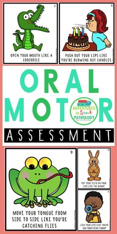 Motor Assessment Cards Sometimes you need some fun pictures to get kids to perform some basic oral motor movements as part of your speech assessment. Preschool Speech Therapy, Speech Language Pathology, Speech And Language, Speech Therapy Games, Toddler Speech Activities, Feeding Therapy Activities, Aphasia Therapy, Occupational Therapy, Oral Motor Activities