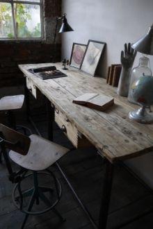 bureau industriel double poste de travail metal et bois