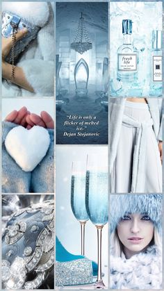 ❄️ Blue ice by Cath #moodboard #color #winter #ice #blue