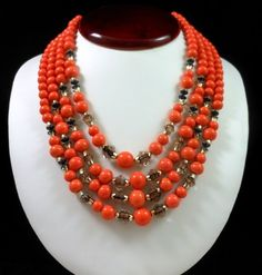 "Vintage Japan Faux Coral Glass Bead Multi Strand Necklace 17""L Very Nice! $48.00 SOLD"