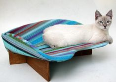 This would be nice mounted to the side of my desk - Retro Modern Cat Beds from Likekittysville Cool Cat Beds, Retro Desk, Clever Gadgets, Pets 3, Cat Enclosure, Pet Furniture, Cat Supplies, Pet Beds, Cat Products
