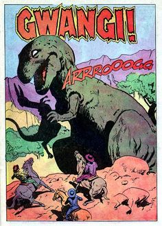 Dell Movie Classic #880 Valley of the Gwangi Terrific splash page when we see Gwangi for the first time, by Jack Sparling.