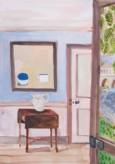Lottie Cole Interior with William Scott and Painted Door Signed Watercolour on paper 16 1/2 x 11 3/4 in 42 x 29.7 cms (LC074)