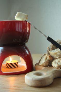 Mixed Cheese Fondue With Whole Grain Garlic Focaccia Via Table Of Colours