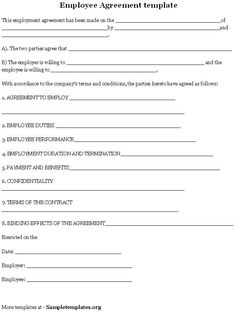 Sample Employment Contract Form Template | Letter | Pinterest ...