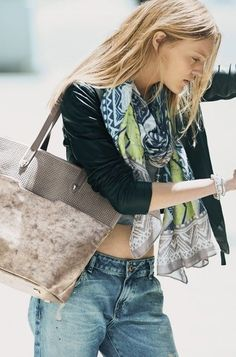 The Hudson Tote Medium - Slate Grey Perf/Brushed Metallic by Stella & Dot. Grey sueded perf meets softly distressed metallic vegan leather creating a perfect medium size tote for everyday. www.stelladot.com/amandatheisen
