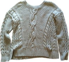 VINCE Fisherman Sweater YAK Wool Boxy Cropped Cable Knit Aran Oatmeal Irish XS #Vince #Crewneck