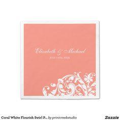 Coral White Flourish Swirl Personalized Wedding Standard Cocktail Napkin