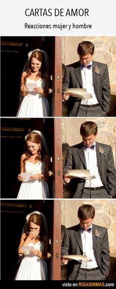 Cartas de amor. Reacciones mujer y hombre.