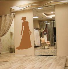 ik1919 Wall Decal Sticker flowers bride wedding dress bridal shop