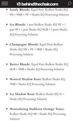 and Shades EQ Processing Lotion equal parts Redken Color Formulas, Hair Color Formulas, Redken Shades Eq, Nuances Redken, Toner Für Blondes Haar, Redken Hair Color, Redken Hair Products, Champagne Blonde, Hair