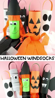 DIY Halloween Windsocks -Make a Jack-o-Lantern Witch Bat Mummy or Ghost! Fun and easy DIY Halloween Windsocks. Kids can make a bat witch ghost mummy or jack-o-lantern with our free templates. Simple Halloween crafts for kids. Halloween Art Projects, Halloween Arts And Crafts, Halloween Crafts For Toddlers, Halloween Tags, Diy Halloween Decorations, Toddler Crafts, Diy Crafts For Kids, Kids Diy, Diy Projects