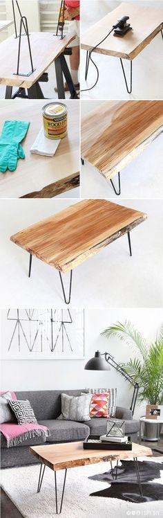 DIY Wood Slab Coffee Table with hairpin legs
