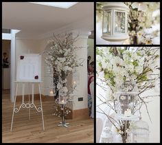 tall cherry blossom flower tree centrepieces, floor standing blossom trees for wedding, from wedding ceremony at Pembroke lodge in Richmond.