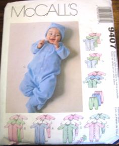 McCall's Sewing Pattern No. 9407 baby pants & tops romper set #McCalls